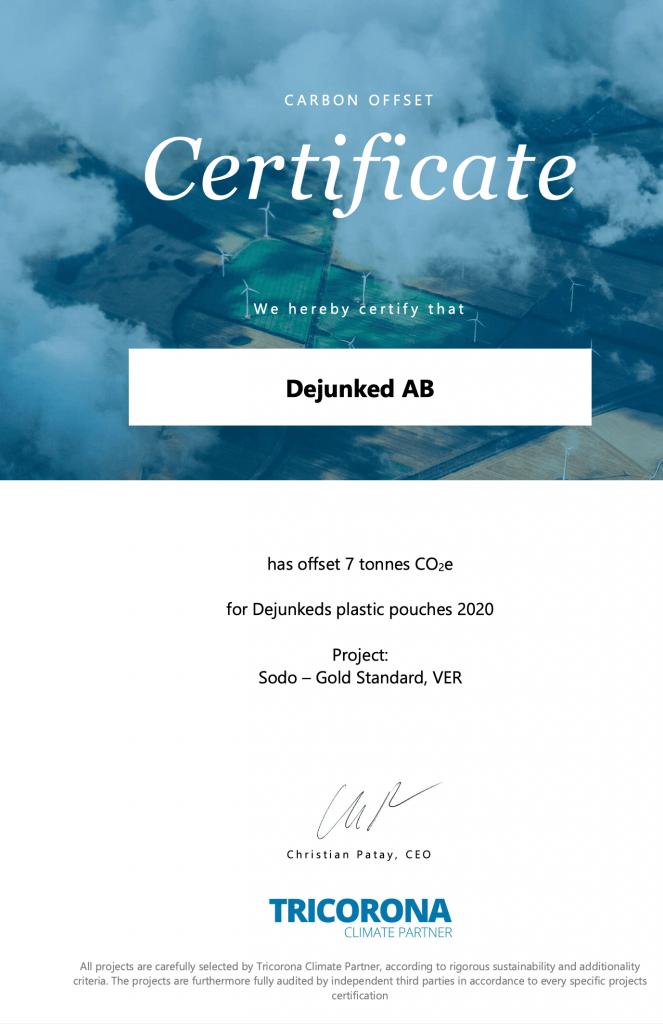 Dejunked klimatkompensering certifikat